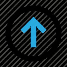 arrow, circle, send, up, upload icon