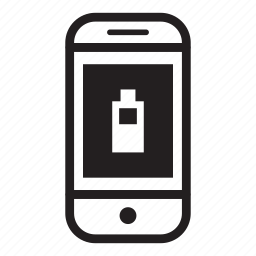 battery, device, half, mobile, phone, smartphone icon