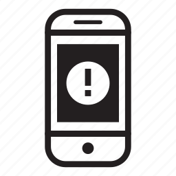 device, mobile, phone, smartphone, warning icon