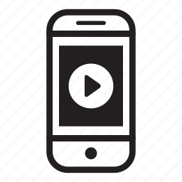 device, mobile, phone, play, smartphone, video, youtube icon