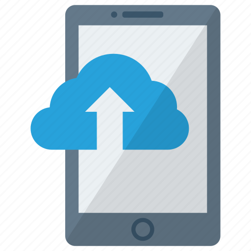 cell, cloud upload, device, mobile, phone, smart, smartphone icon