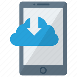 cell, cloud downloading, device, mobile, phone, smart, smartphone icon
