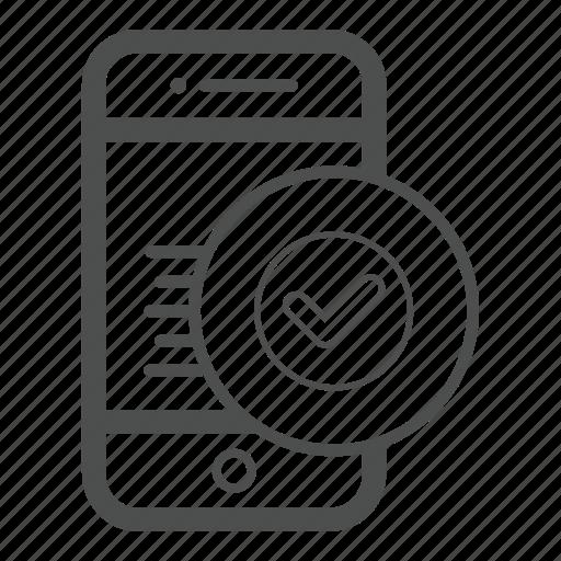 app, authentication, check, mobile, ok icon