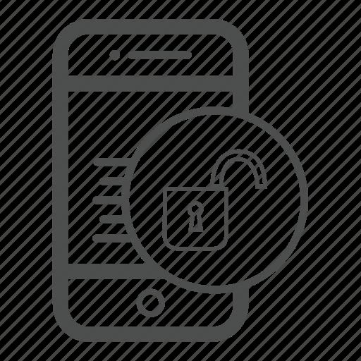 app, mobile, unlock icon