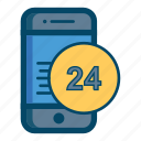 24, 24 hours, app, apps, mobile, phone, smartphone icon