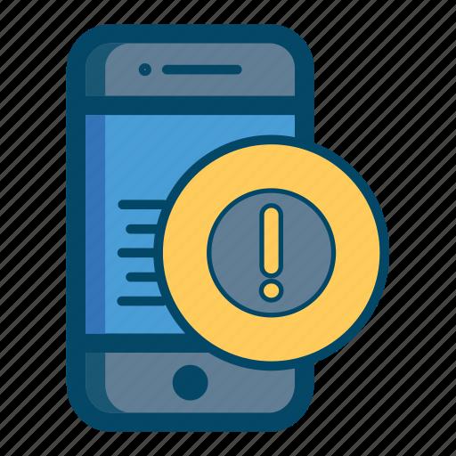 alert, app, apps, mobile, notification, smartphone, warning icon