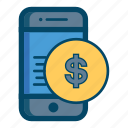 app, apps, bill, cash, mobile, money, smartphone icon