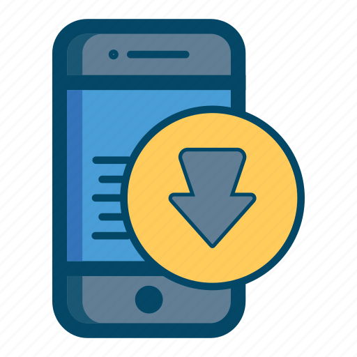 app, apps, arrow, down, download, mobile, smartphone icon