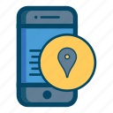 app, apps, area, location, map, mobile, smartphone icon