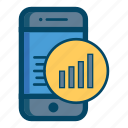 app, apps, bar, chart, mobile, price, smartphone icon