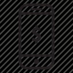 device, mobile, money, phone, smartphone icon