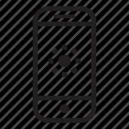 brightness, device, mobile, phone, smartphone, sun icon
