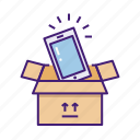 box, cardboard, new, open, service, smartphone, unboxing icon