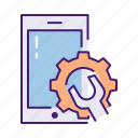 gear, repair, service, setting, setup, smartphone icon