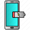 battery, dead, low, mobile, phone icon
