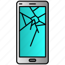 broken, cracked, phone, screen, shattered icon
