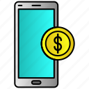 dollar, mobile, online, payment, phone, shopping icon
