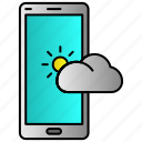 app, cloud, mobile, phone, weather icon