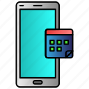 calender, data, mobile, phone, time icon