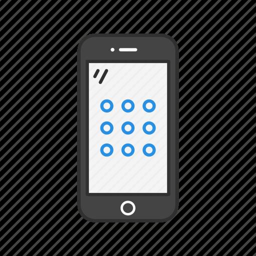 mobile code, passcode, password, phone icon