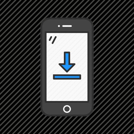 dowloading, download, loading, phone icon