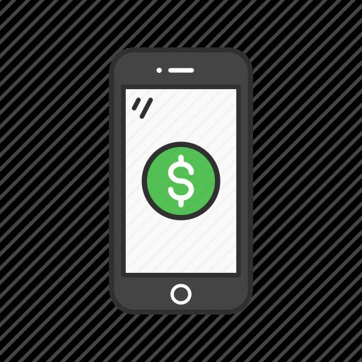 apple pay, dollar, mobile money, phone icon