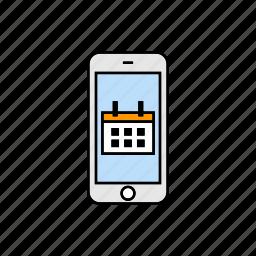 calendar, events, meeting, smartphone icon