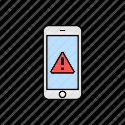 alert, danger, notification, smartphone icon