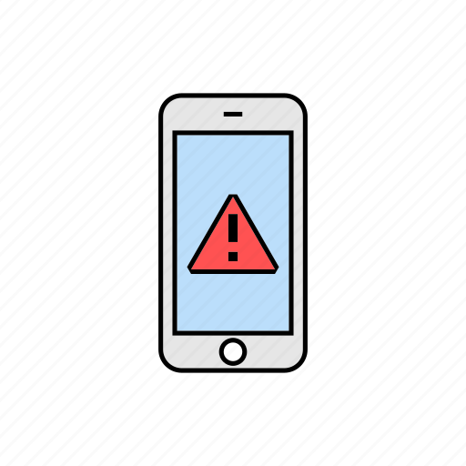 alert, danger, notification, smartphone icon