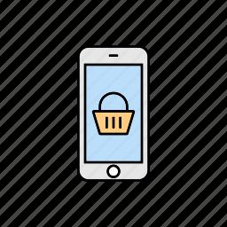 bag, basket, buy, purchase, shopping, smartphone icon