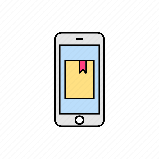 book, bookmark, mark, reading, smartphone icon