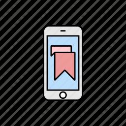 bookmark, mark, smartphone icon