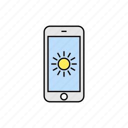 brightness, smartphone, sun, weather icon