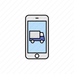 delivery, shipping, smartphone, truck icon