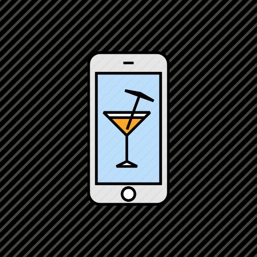 bar, cocktail, drink, nightclub, smartphone icon