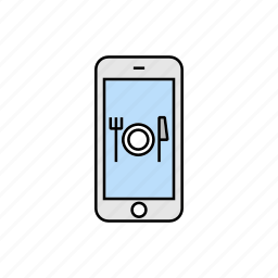 food, meal, restaurant, smartphone icon