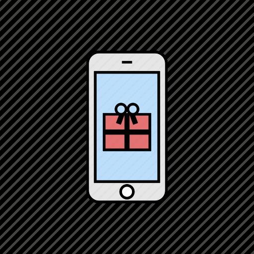gift, present, smartphone icon