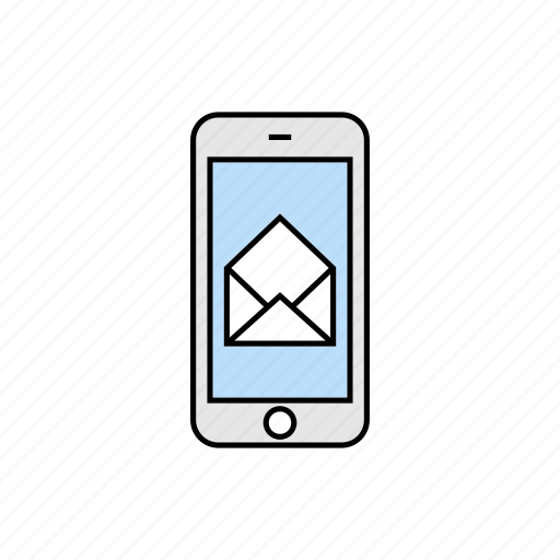 message, open mail, smartphone icon