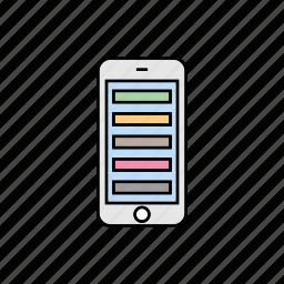 list, menu, smartphone, tabs icon