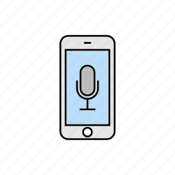 microphone, record, smartphone, voice control, voice recognition icon
