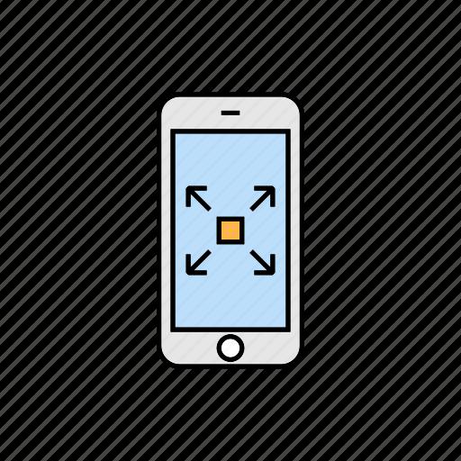 enlarge, fullscreen, increase, smartphone icon
