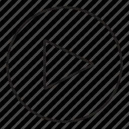 arrow, play, read, video icon