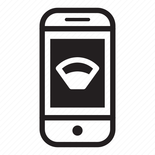device, mobile, phone, smartphone, wifii icon