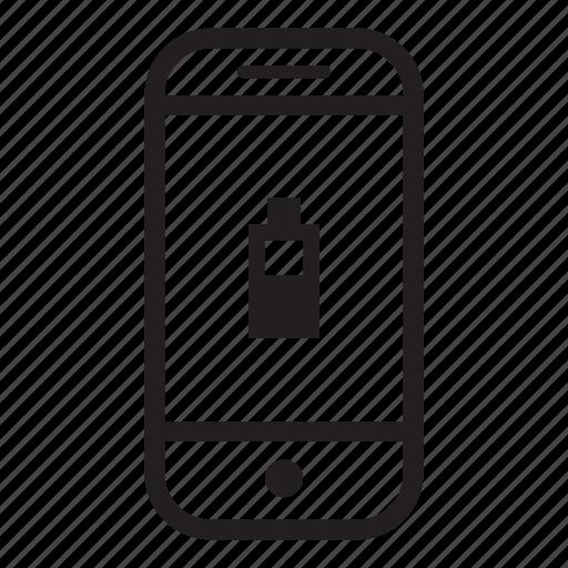 battery, device, half, mobile, phone, smartphone icon
