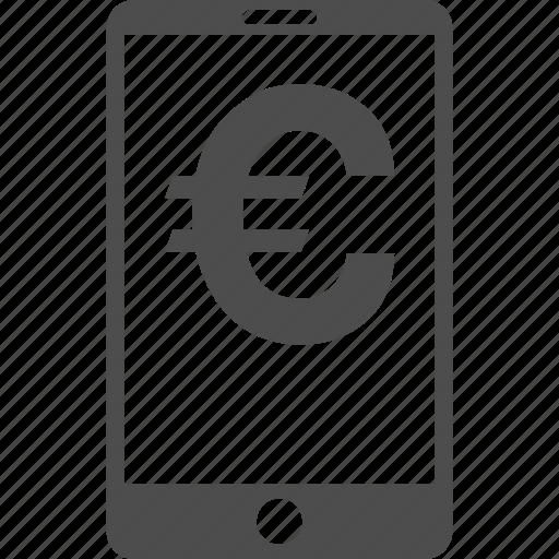 account, cellphone, euro, mobile balance, money, smartphone, telephone icon