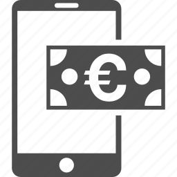 cellphone, euro cash, finance, mobile balance, money, phone, telephone icon