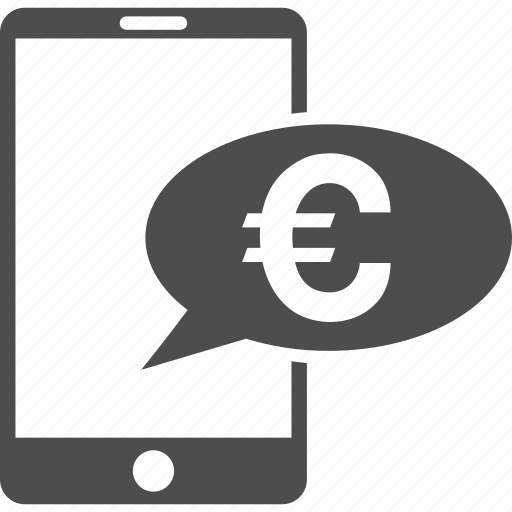 banking message, euro bank, finance, mobile balance, money, phone, telephone icon
