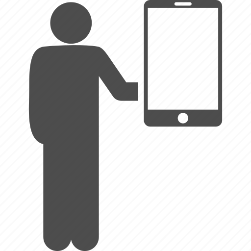 device, holds, man, mobile phone, smartphone, technology, telephone icon