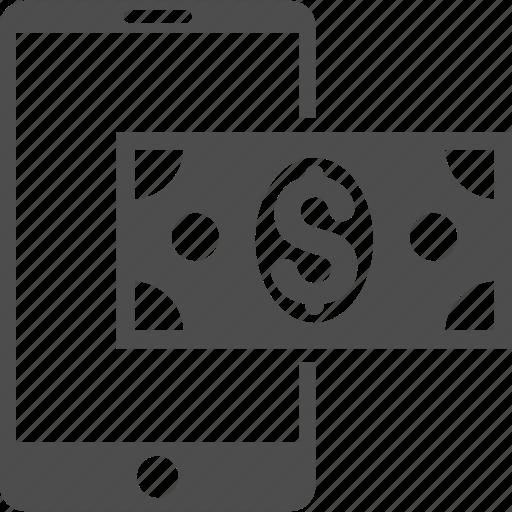 banking message, dollar cash, finance, mobile balance, money, phone, telephone icon
