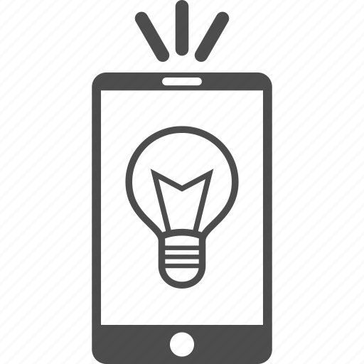 bulb, cellphone, electric, electricity, lamp light, mobile phone, torch icon